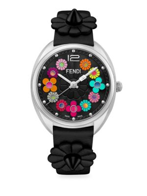 Momento Fendi Flowerland Stainless Steel Leather Strap Watch