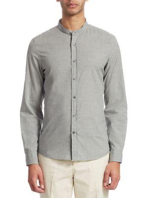 Mandarin Button-Front Shirt