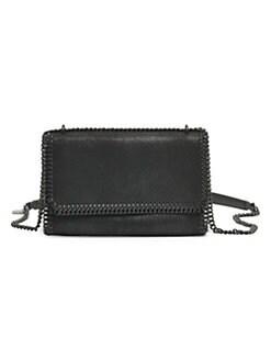 스텔라 맥카트니 Stella McCartney Shaggy Faux Leather Crossbody Bag,Black