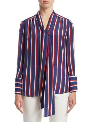 Arie Pussy-bow Striped Silk Blouse - Blue Alice & Olivia