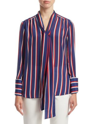 Arie Pussy-bow Striped Silk Blouse - Blue Alice & Olivia Order For Sale paeJTnSNT