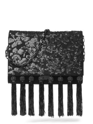 YASMEEN SEQUIN & TASSEL SUEDE CLUTCH - BLACK