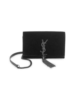 SAINT LAURENT Kate Toy Small Crystal-Monogram Tassel Velvet Wallet On A Chain  Bag - ba99aa7f54486