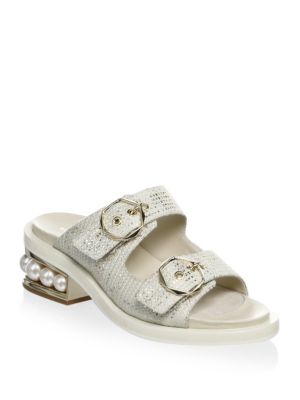 Casati Pearl Leather Two-Strap Sandals