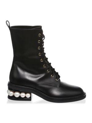 Casati Pearl Leather Combat Boots