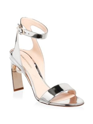 Lola Metallic Leather Pearl Ankle-Strap Pumps