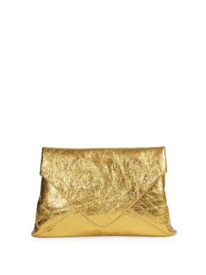 Metallic Leather Envelope Pouch