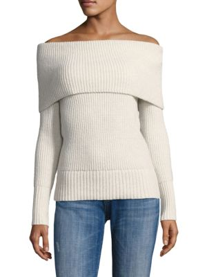 Off-The-Shoulder Wool Blend Sweater