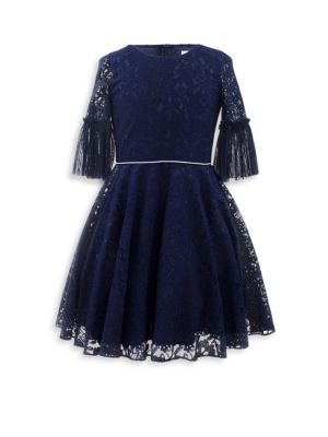Girl's Pleated Lace Dress