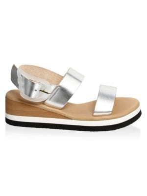 Clio Metallic Leather Wedge Sandals