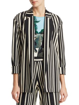 Neta Striped Cotton-blend Blazer - Black Alice & Olivia