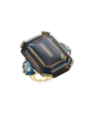 Marquetry Light Brown Diamonds, Blue Topaz & 18K Yellow Gold Ring