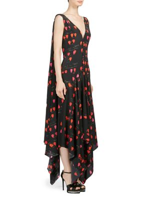 Silk Handkerchief Petal Print Dress