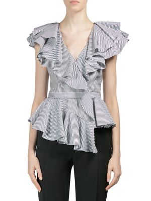 Ruffled Pinstripe Wrap Top