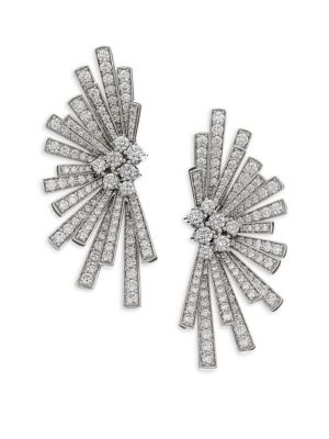 Labyrinth Diamond & 18K White Gold Stud Earrings