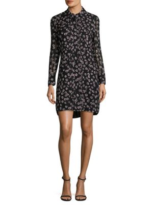 AVERY FLORAL PRINT SILK SHIRT DRESS