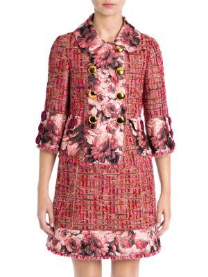 Floral Jacquard Trim Tweed Jacket