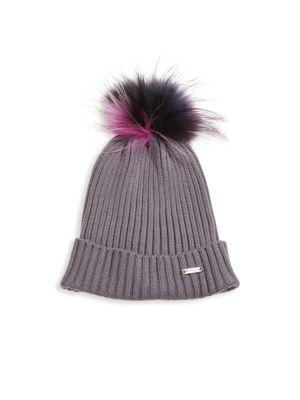 Rib-Knit Fox Fur Pom-Pom Beanie