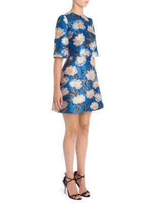Floral Jacquard Elbow-Sleeve Dress