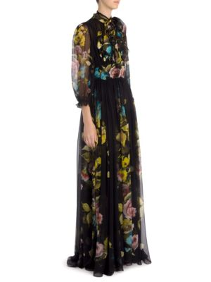 Dolce & Gabbana Woman Wrap-effect Floral-print Silk-chiffon Gown Black Size 40 Dolce & Gabbana Clearance In China 5Pb7M6WU