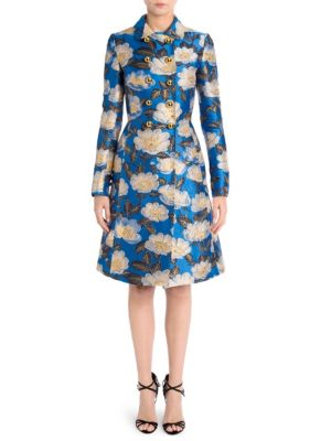 Floral Jacquard Fitted Coat