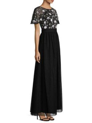 Hand Beaded Tulle Floor-Length Gown