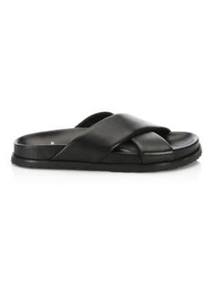 Crisscross Leather Slides