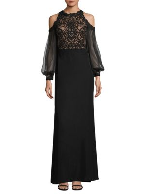 Lace Cold Shoulder Gown