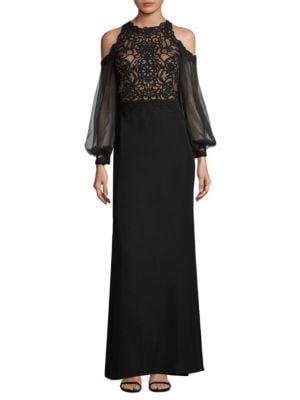 Lace Cold Shoulder Gown