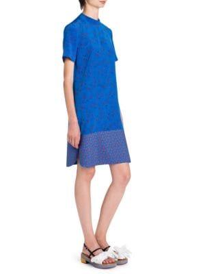 Silk Floral-Print Dress