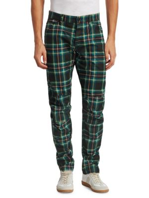 3D Tapered Plaid Cotton Jeans