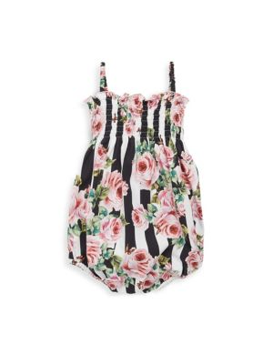 Baby Girl's Striped Rose Cotton Romper