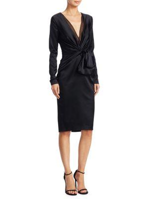 Satin V-Neck Sheath Dress