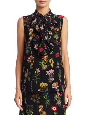 Silk Floral-Print Top