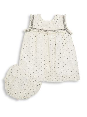 Baby's Tally Two-Piece Dotted Dress and Bloomers Set