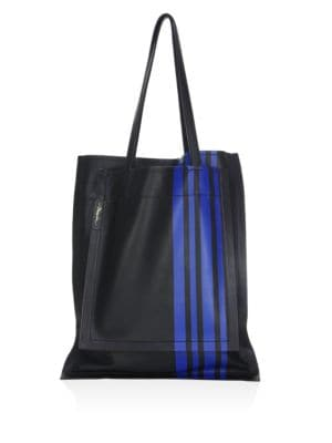 Stripe Leather Tote