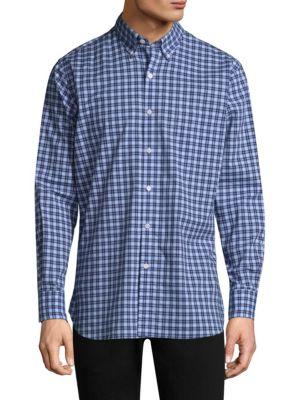Checkered Cotton Button-Down Shirt