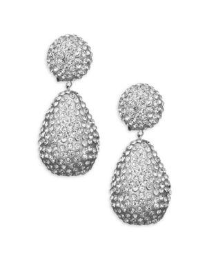 Dome Top Crystal Drop Earrings