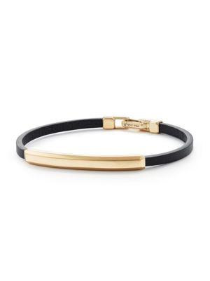 Streamline 18K Yellow Gold & Leather ID Bracelet