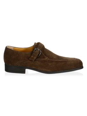 A. TESTONI Single Monk-Strap Suede Loafers