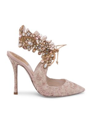Embellished Ankle Lace Pump
