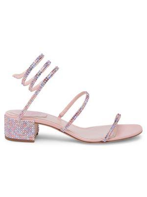 Pink Crystal Ankle Wrap Sandals