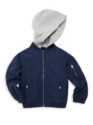 Toddler's, Little Boy's & Boy's Layered Hoodie Bomber Jacket