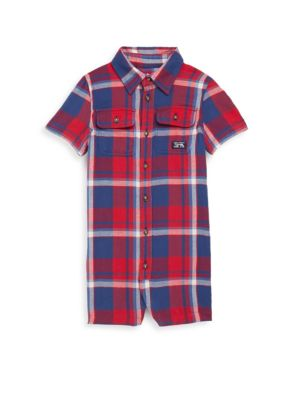 Baby's Plaid-Print Shortall