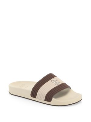 Textured-suede Slides - MushroomBrunello Cucinelli