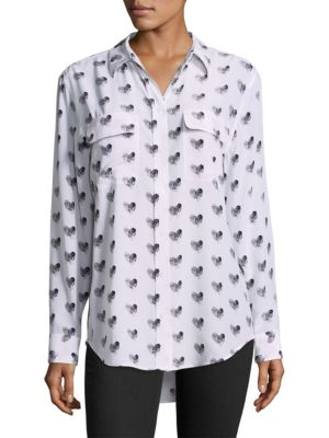 EQUIPMENT Heart-Print Button-Front Silk Signature Shirt, Bright White