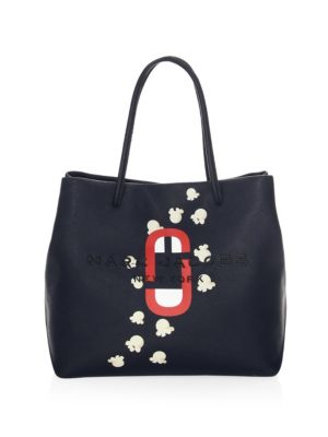 MARC BY MARC JACOBS POPCORN LOGO SCREAM LEATHER TOTE - BLUE