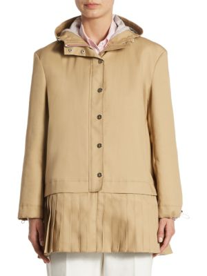 Pleated Hooded Drop Shoulder Jacket