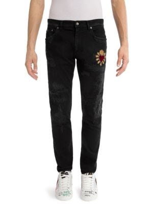 Distressed Heart Skinny Jeans by Dolce & Gabbana