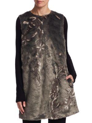 Marsha Floral Faux Fur Vest